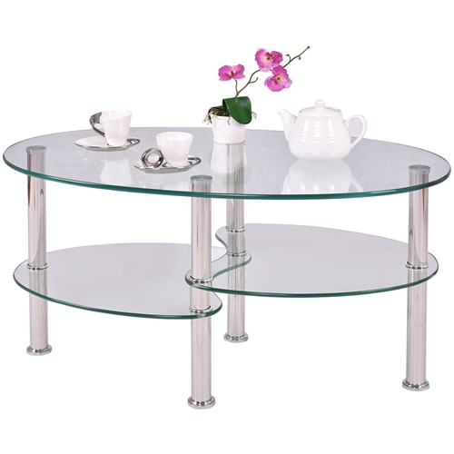 Modern Oval Tempered Glass Coffee Table with Bottom Shelf