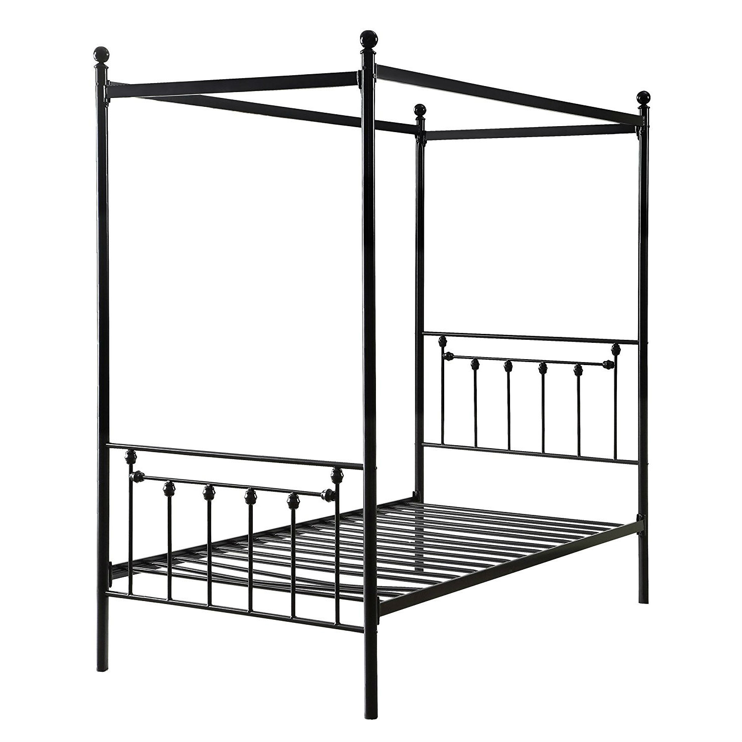 - Twin Size Sturdy Metal Canopy Bed Frame In Black Metal Finish