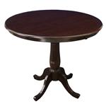 深棕色浓摩卡木饰面圆英寸餐桌