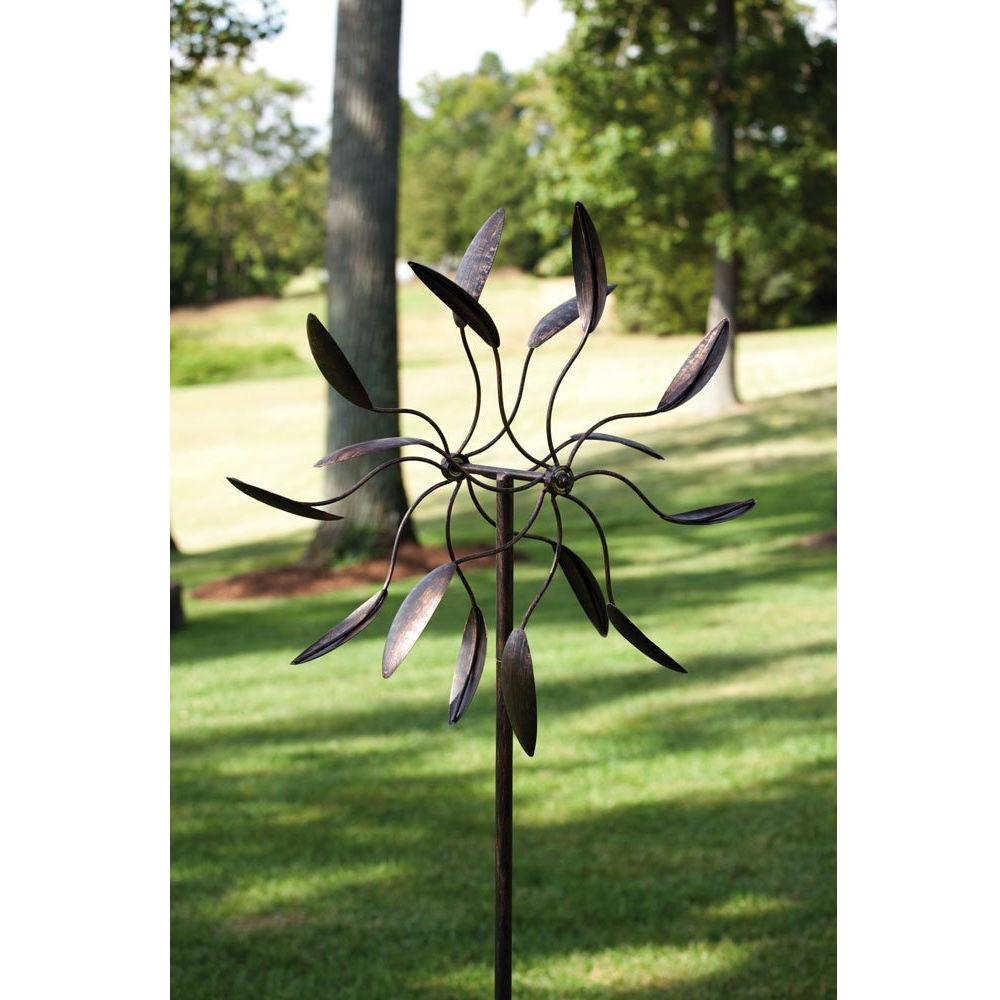 6/'ft Metal Wind Spinner Kinetic Windmill Art Bronze Garden Stake Yard Lawn Decor