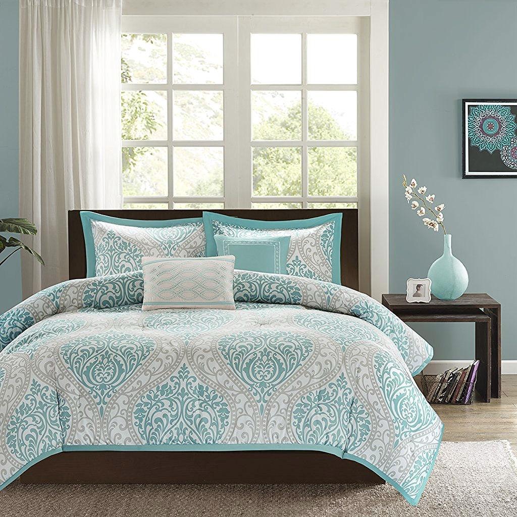 Twin / Twin XL Comforter Set in Light Blue White Grey Damask
