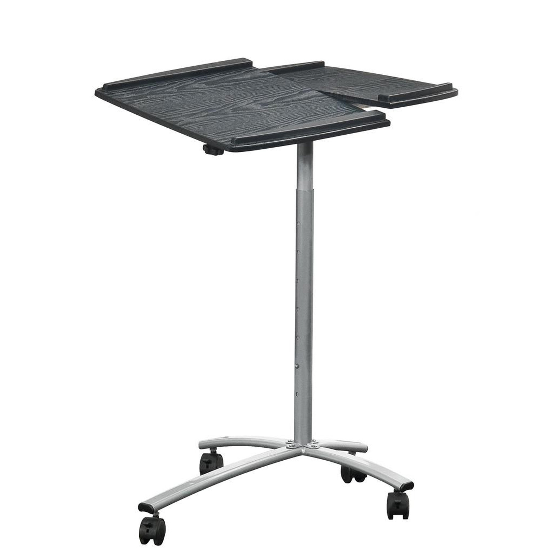 Adjustable Laptop Computer Cart Desk Stand in Graphite Wood Grain