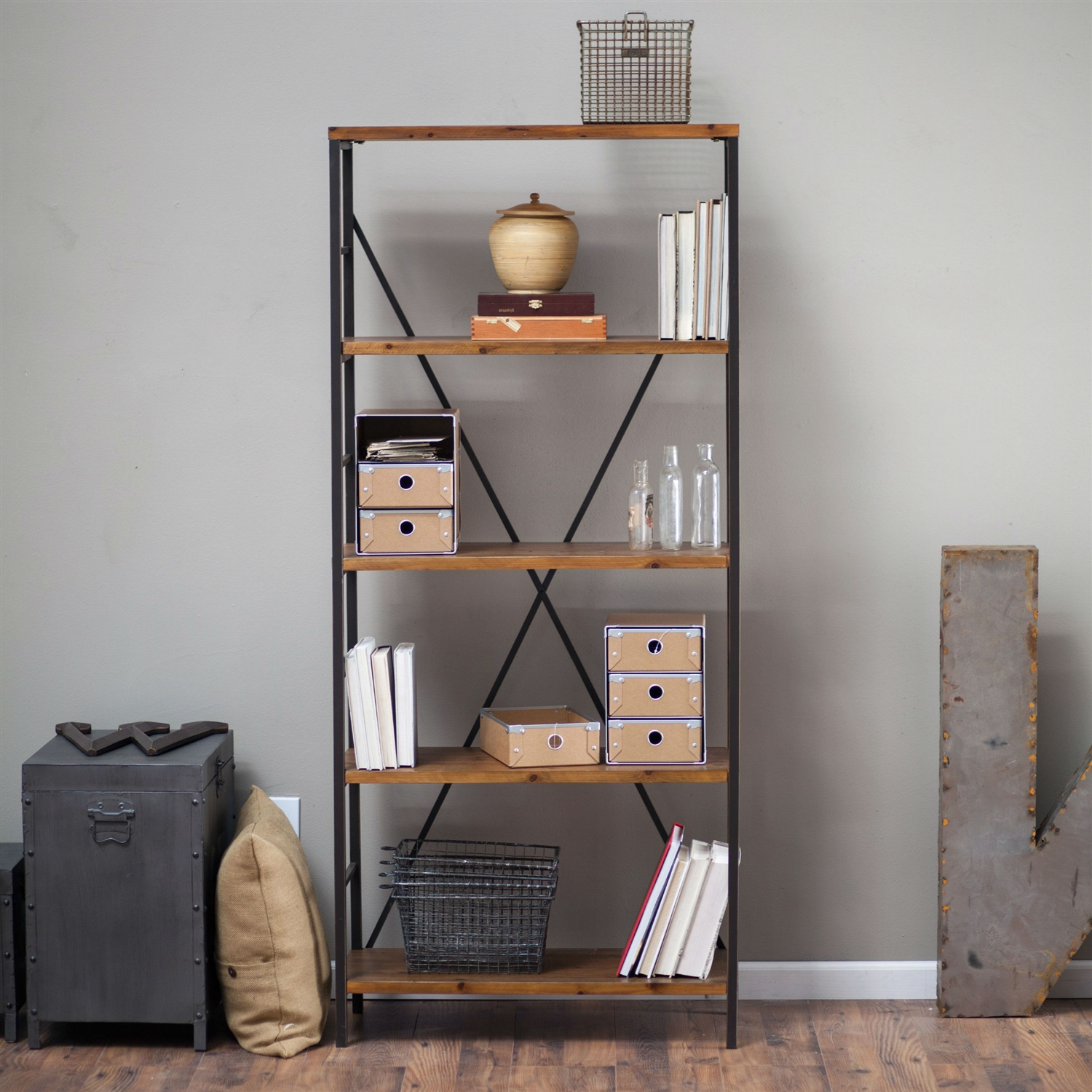 5 Shelf Bookcase With Fir Wood Shelves 68 Inch Tall In Rustic Bronze
