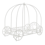 Twin size Princess Canopy Bed with Decorative Wheels in White Metal Finish