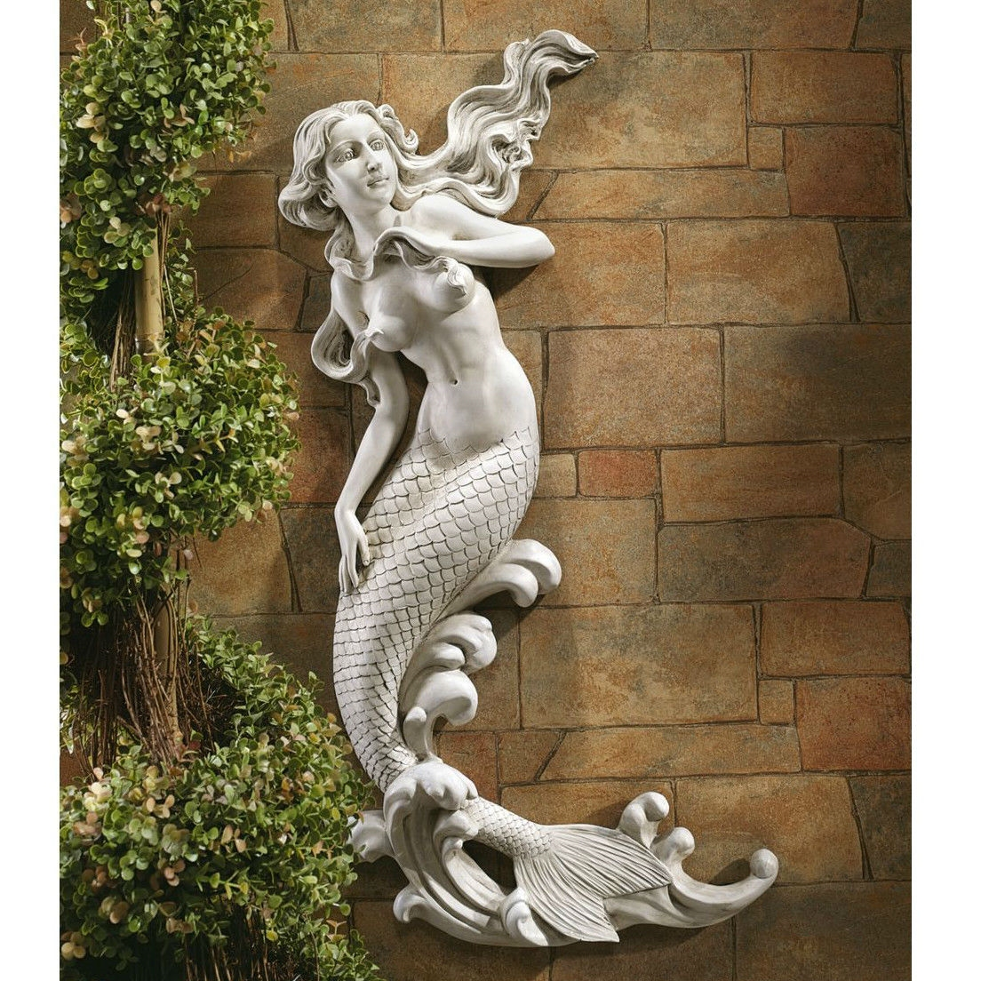 Patio Wall Decor outdoor patio wall decor mermaid wall-mounted garden statue