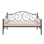 当代拉丝青铜深色锡制双尺寸滚动金属坐卧两用床架