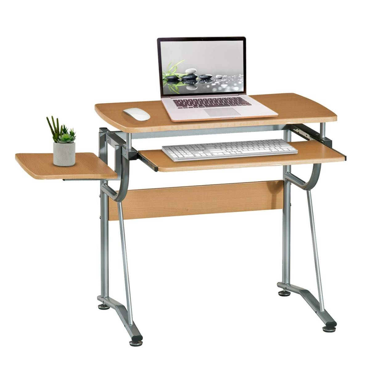 Compact Contemporary Computer Desk in Light Cherry Finish