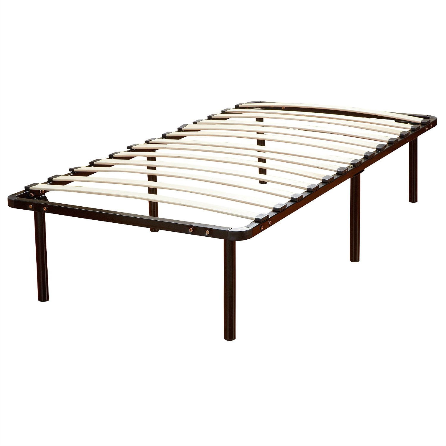 Twin Size Metal Platform Bed Frame With Wooden Slats