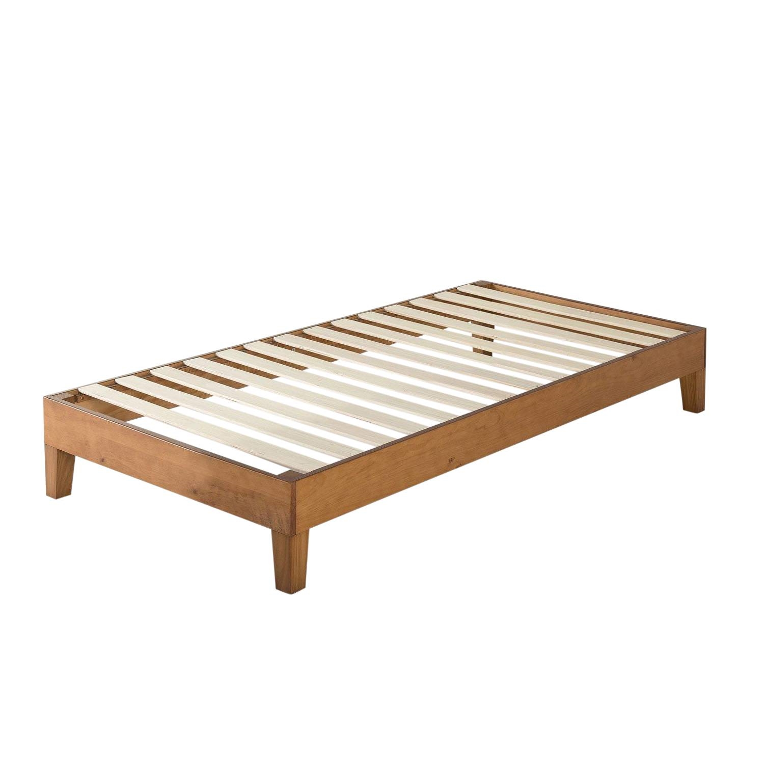 Twin Size Modern Solid Wood Platform Bed Frame In Natural Fastfurnishings Com