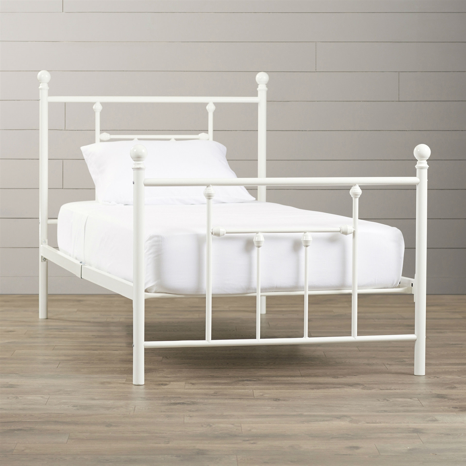 Twin Size White Metal Platform Bed
