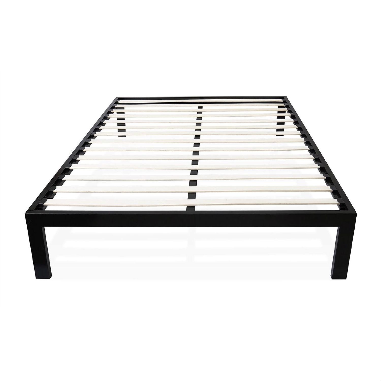 Twin size Modern Black Metal Platform Bed Frame with Wood Slats ...