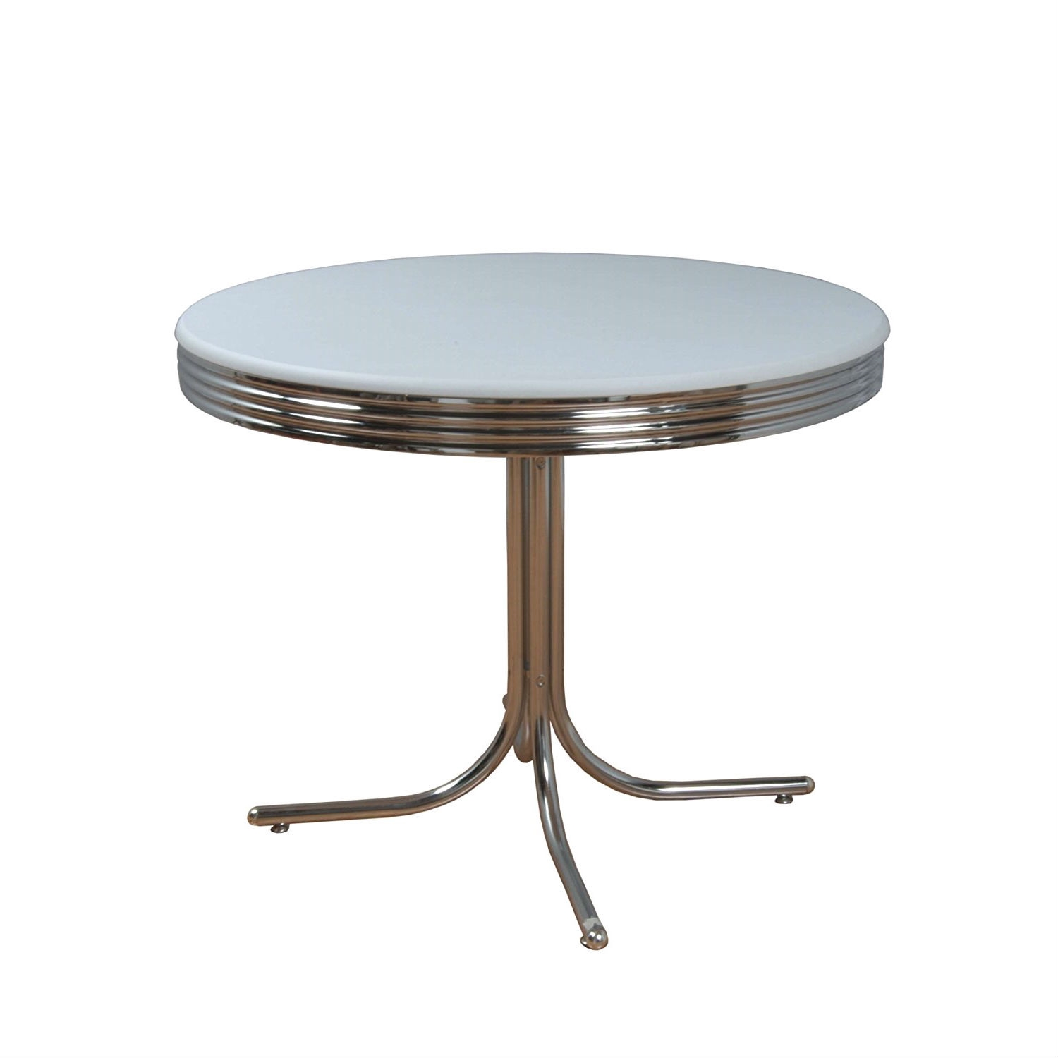 38 Inch Round Table.Round 38 Inch Retro Dining Table In White And Chrome