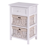 White Wooden 1-Drawer End Table Nightstand with 2 Baskets