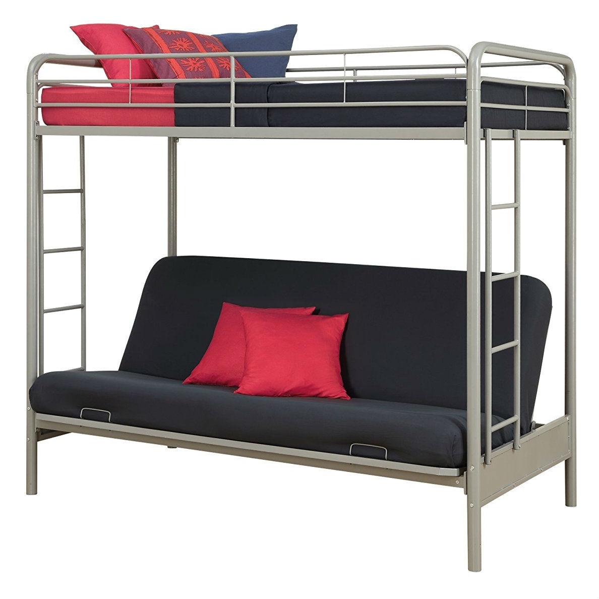 Futon Bunk Bed In Silver Metal Finish