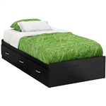 Twin size Black Platform Bed Frame with With 3 Storage Drawers