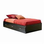 双木炭黑色现代露背平台沙发床,带储物抽屉