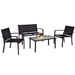 Modern 4-Piece Outdoor Patio Furniture Set with Sling Chairs and Coffee Table