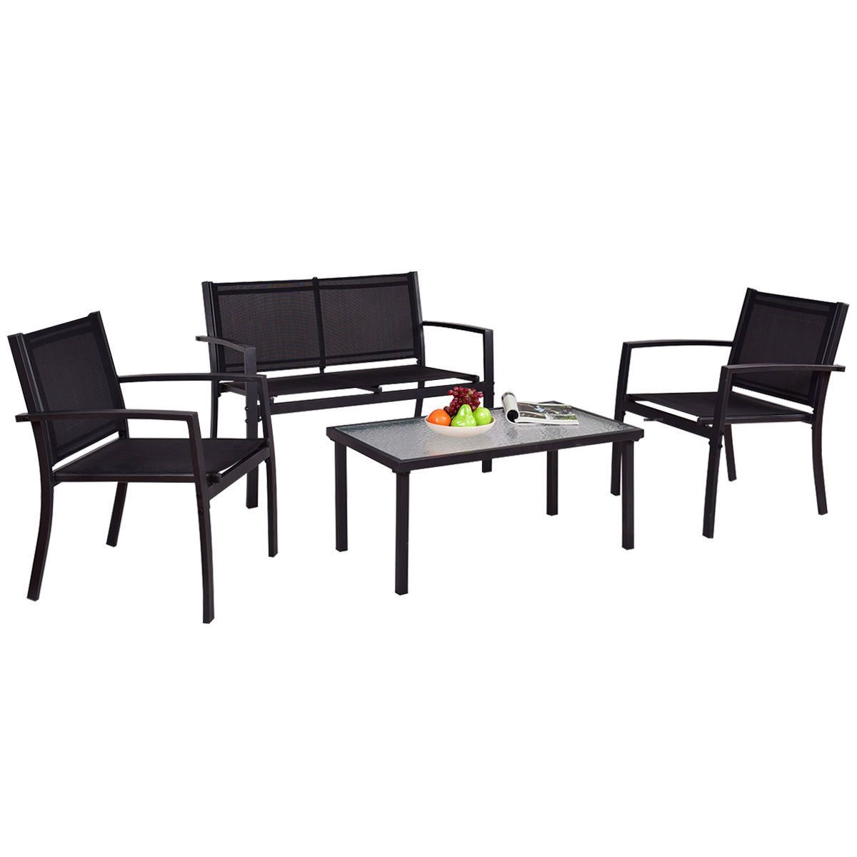 outdoor sling chairs. Modern 4-Piece Outdoor Patio Furniture Set With Sling Chairs And Coffee Table A