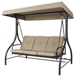 Tan 3-Seat Outdoor Porch Deck Patio Canopy Swing with Cushions