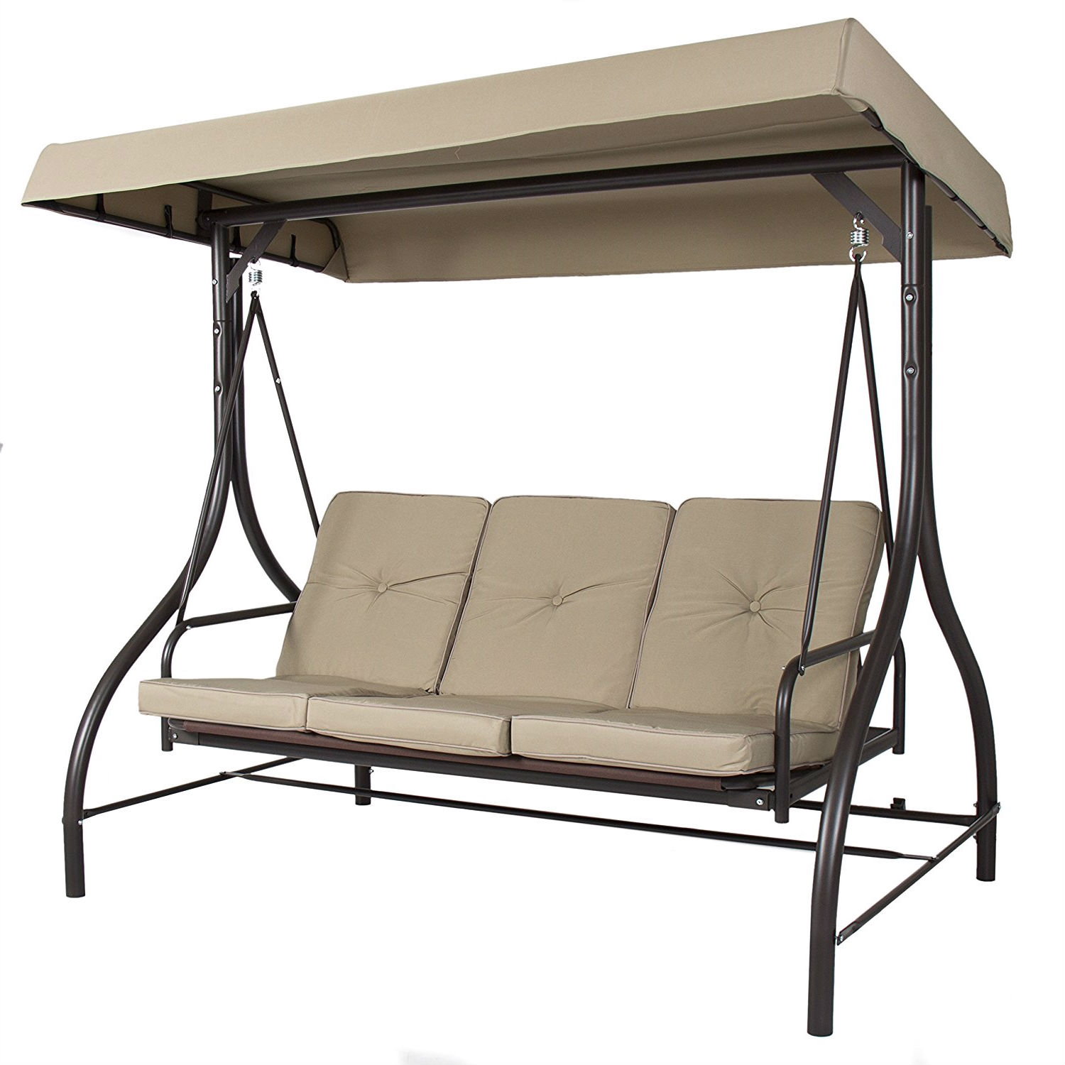 Tan 3 Seat Outdoor Porch Deck Patio Canopy Swing With Cushions Fastfurnishings