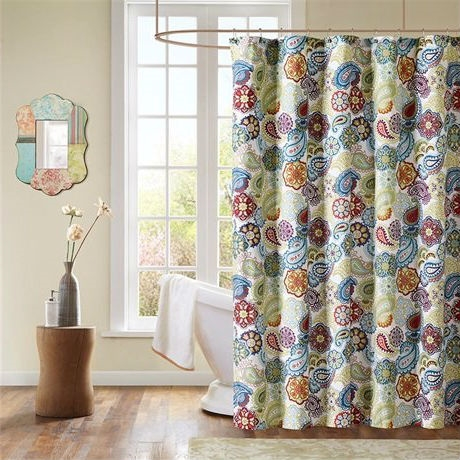 Contemporary Colorful Floral Paisley Shower Curtain