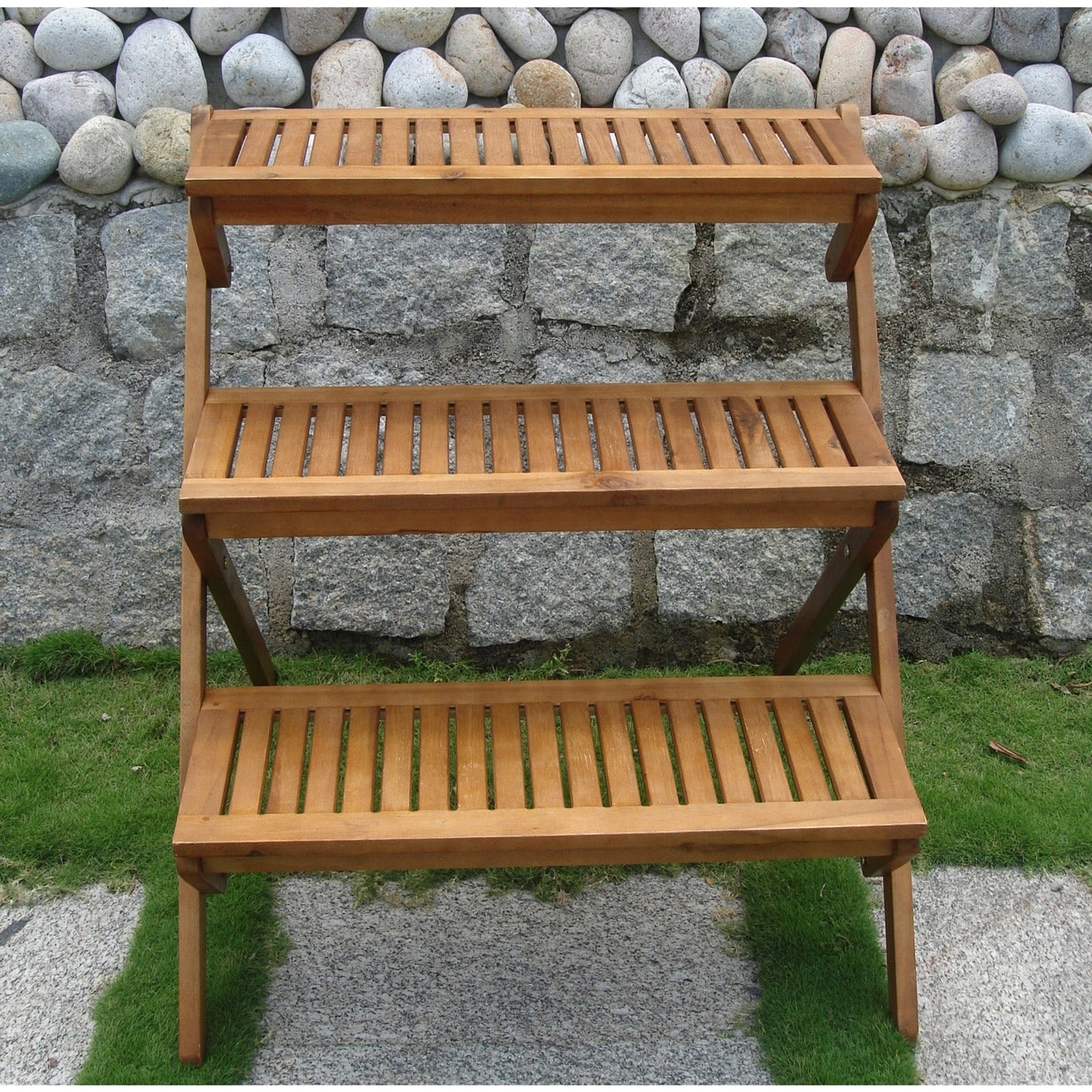 3 Tier Planter Stand In Eucalyptus Wood For Outdoor Or Indoor Use Fastfurnishings