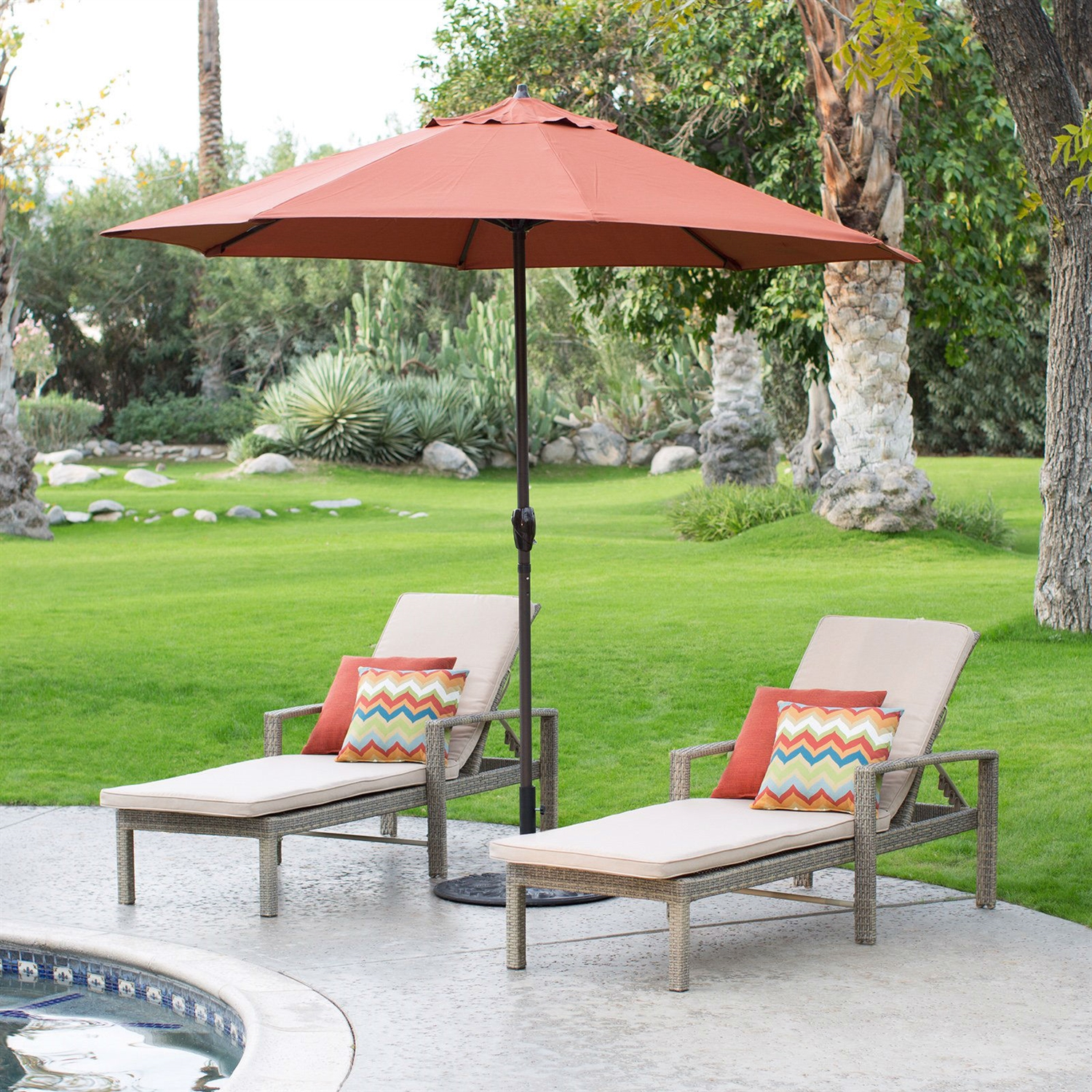 9 Ft Patio Umbrella In Terracotta With Metal Pole And Tilt Mechanism