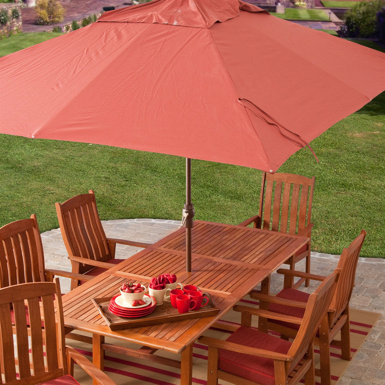 Great 8 X 11 Ft Rectangle Patio Umbrella With Red Orange Terracotta Canopy Shade
