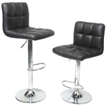 Set of 2 - Adjustable Height Bar Stool with Black Faux Leather Cushion Seat