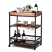 Wood Iron Kitchen Cart with Removeable Tray Top and Wheels
