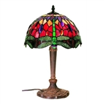 Tiffany Style Table Lamp with Dragonfly Design Colored Glass