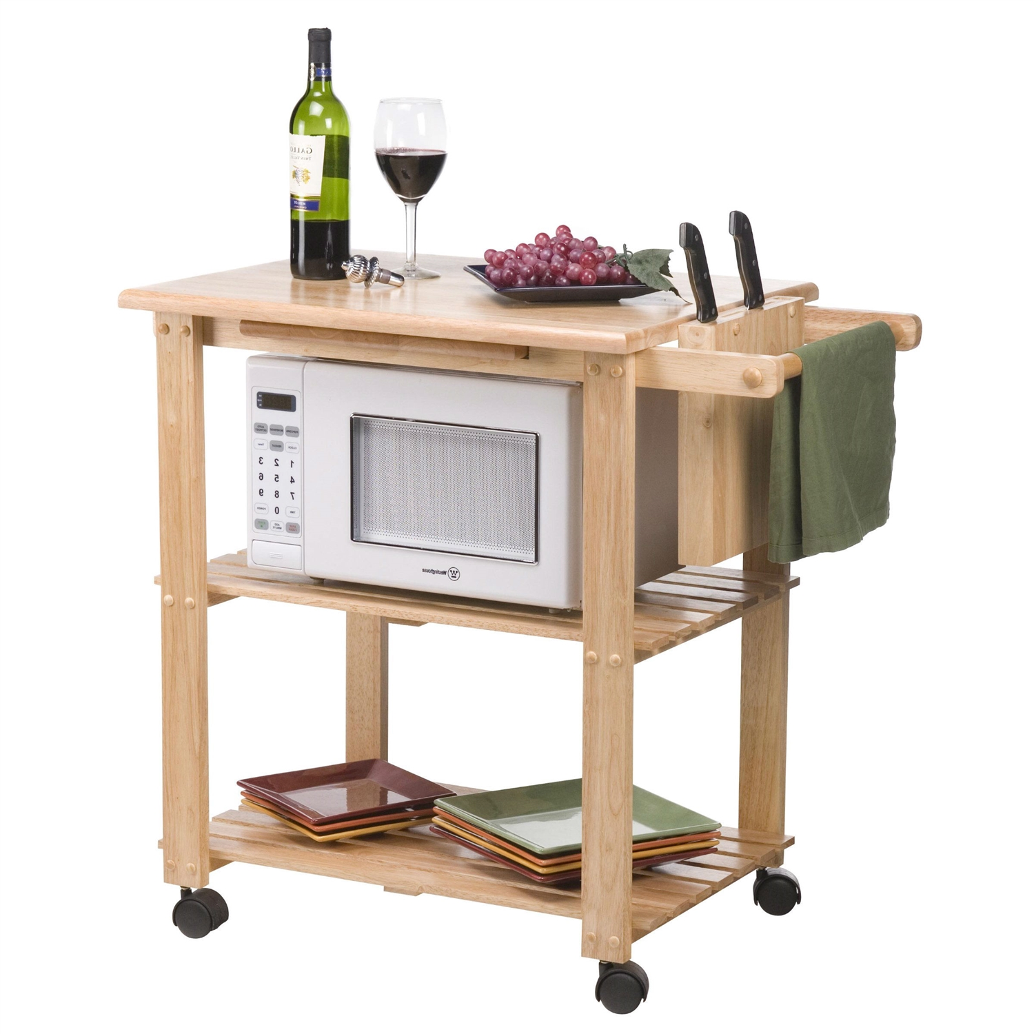 Perfect Solid Wood Kitchen Utility Microwave Cart With Pull Out Cutting Board