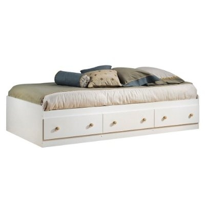 Twin Size Mates Platform Bed In White Maple With 2 Storage Drawers