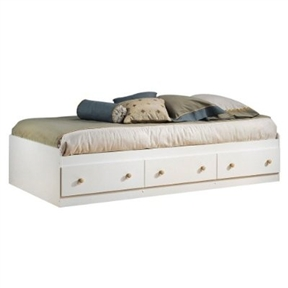 Twin Size Mates Platform Bed in White/Maple with 2 Storage Drawers