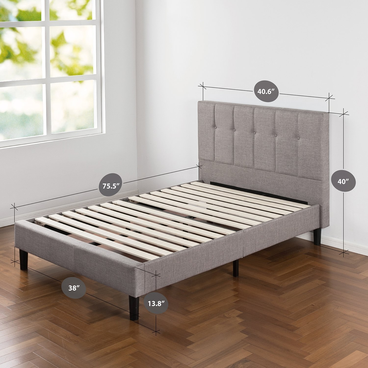 Picture of: Twin Medium Grey Upholstered Platform Bed Frame With Button Tufted Headboard Fastfurnishings Com