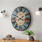Turquoise Oversized Distressed Paris Wood Wall Clock
