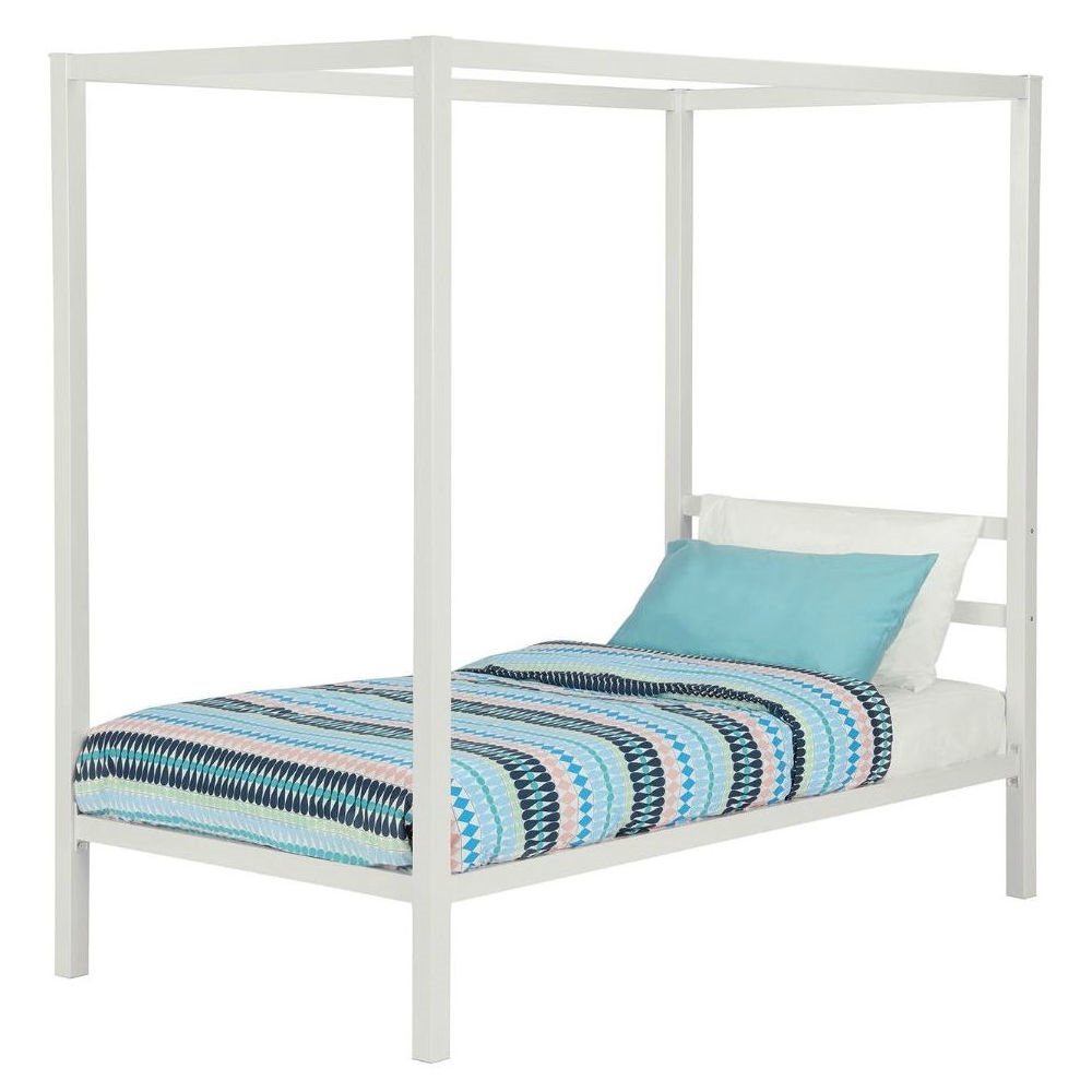 Twin Size White Metal Platform Canopy Bed Frame No Box Spring Necessary