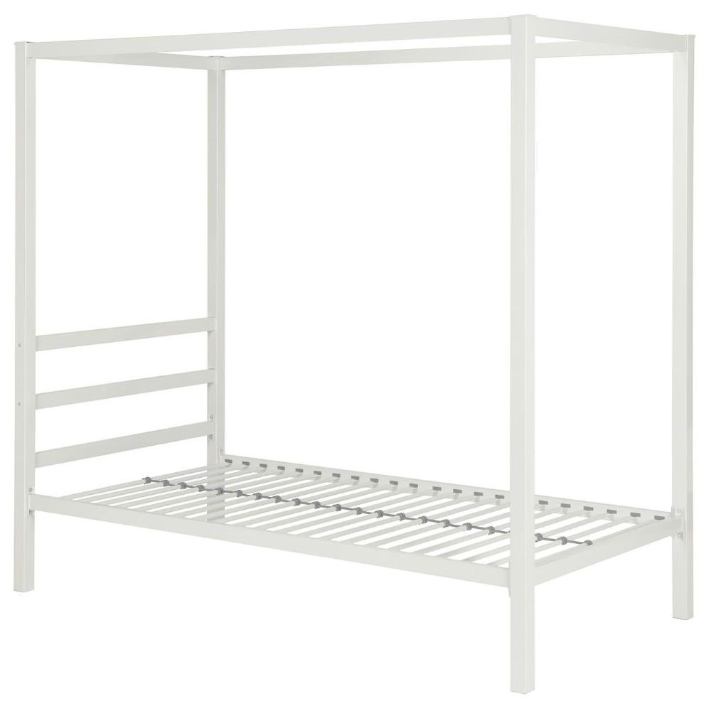Retail Price $369.00  sc 1 st  FastFurnishings.com & Twin size White Metal Platform Canopy Bed Frame - No Box-spring ...