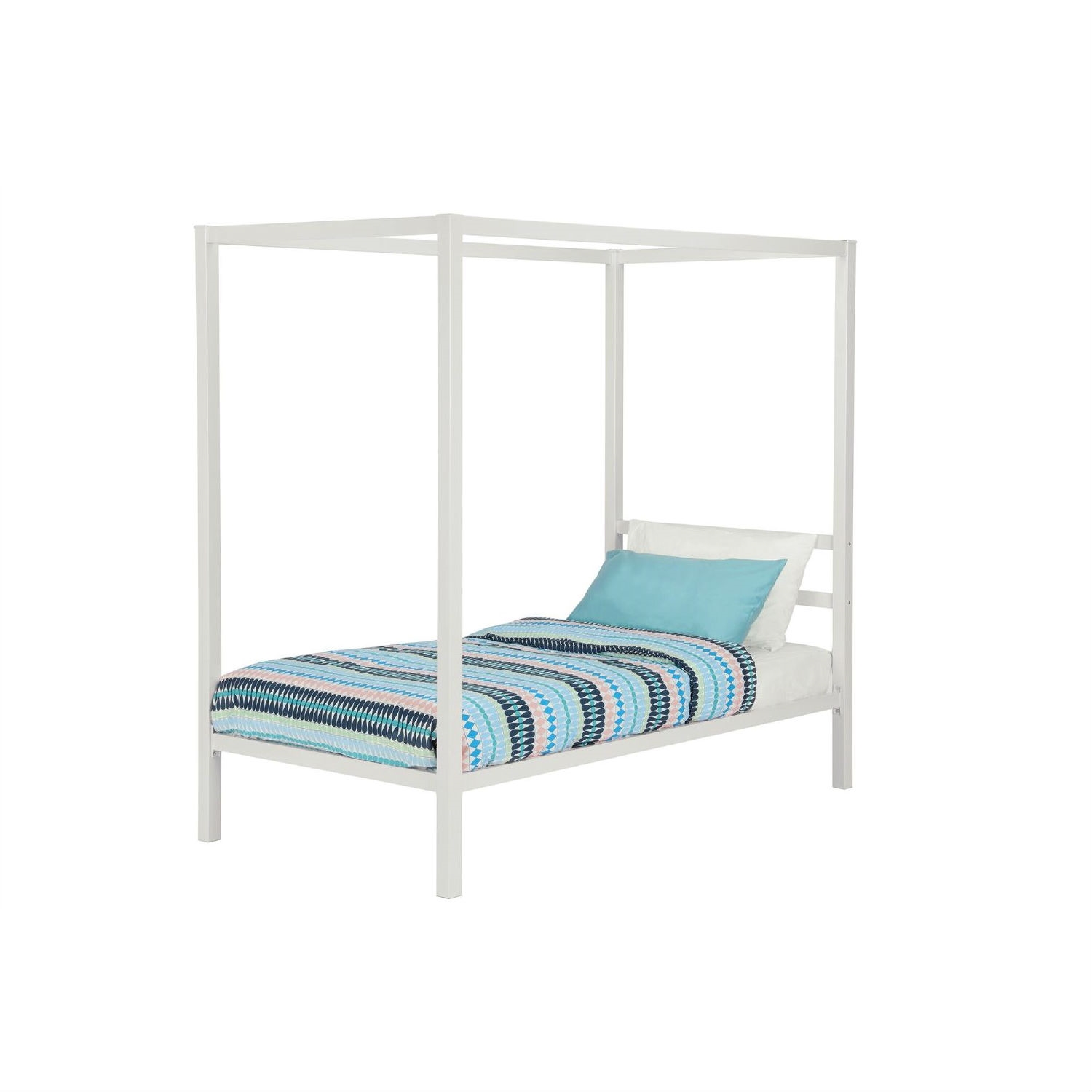Twin Size White Metal Platform Canopy Bed Frame No Box Spring Necessary Fastfurnishings Com