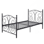 Black Steel Twin Platform Bed Frame with Heaboard Footboard