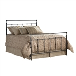 Twin size Ornate Metal Bed in Mahogany Gold Finish