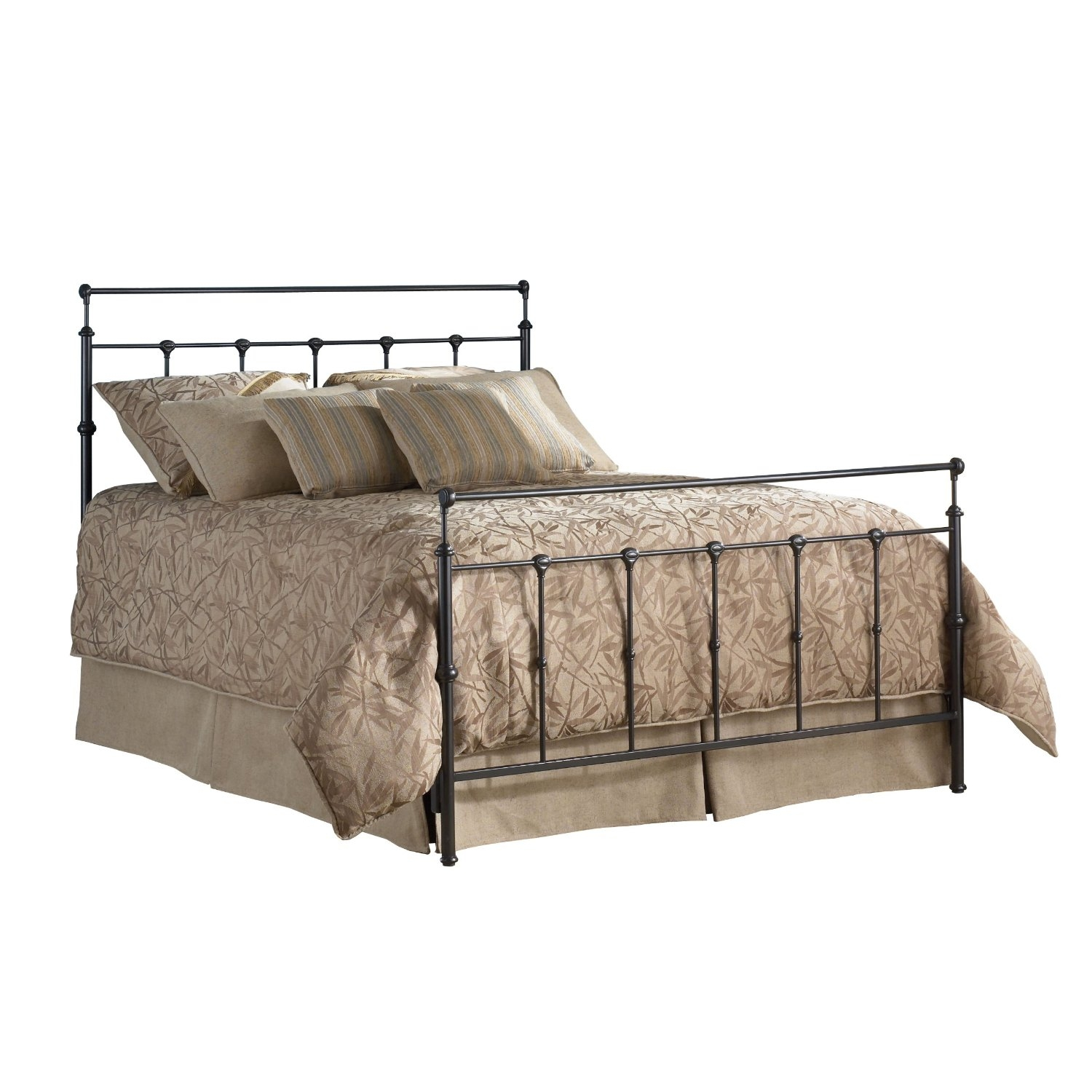 Twin size Ornate Metal Bed in Mahogany Gold Finish | FastFurnishings.com