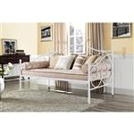 双尺寸白色金属沙发床,带有滚动式最终细节lb重量限制