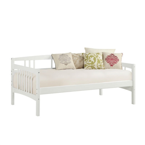 twin size traditional pine wood day bed frame in white finish. Black Bedroom Furniture Sets. Home Design Ideas