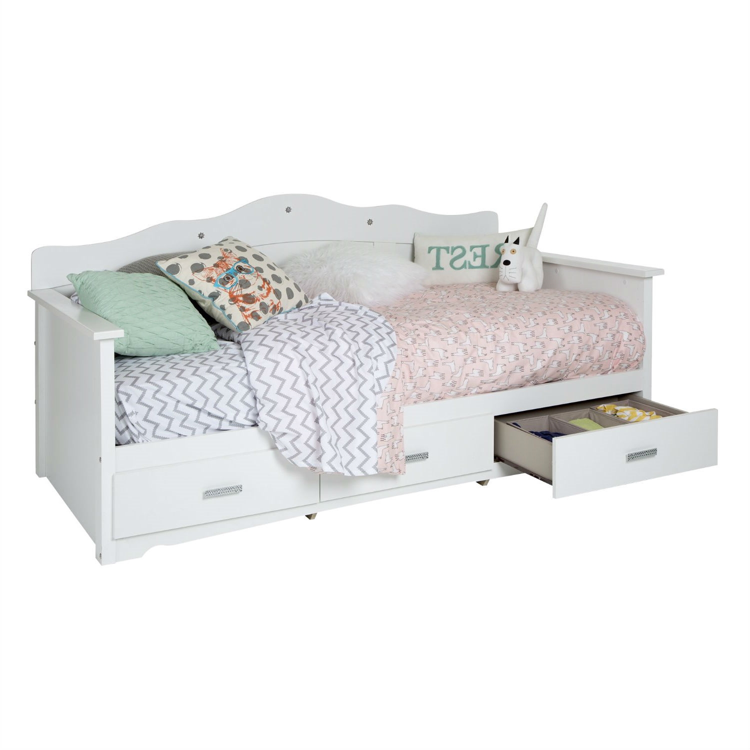 - Twin Size Kids Bed Daybed In White Wood Finish With 3 Storage