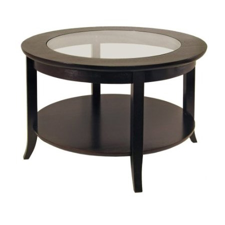 Circular Round Espresso Finish Coffee Table With Gl Inset