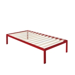 Twin size Modern Red Metal Platform Bed Frame with Wood Slats