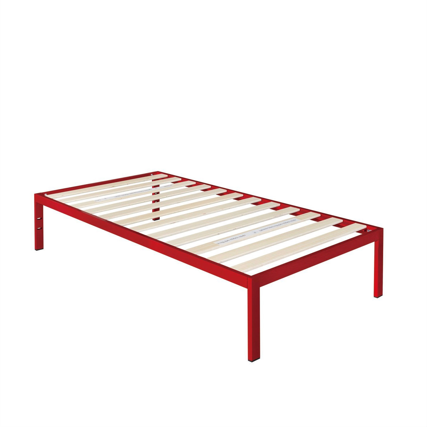 Twin size Modern Red Metal Platform Bed Frame with Wood Slats ...