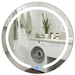 Modern 20-inch Round Bathroom Wall Mirror with Touch Button LED Light