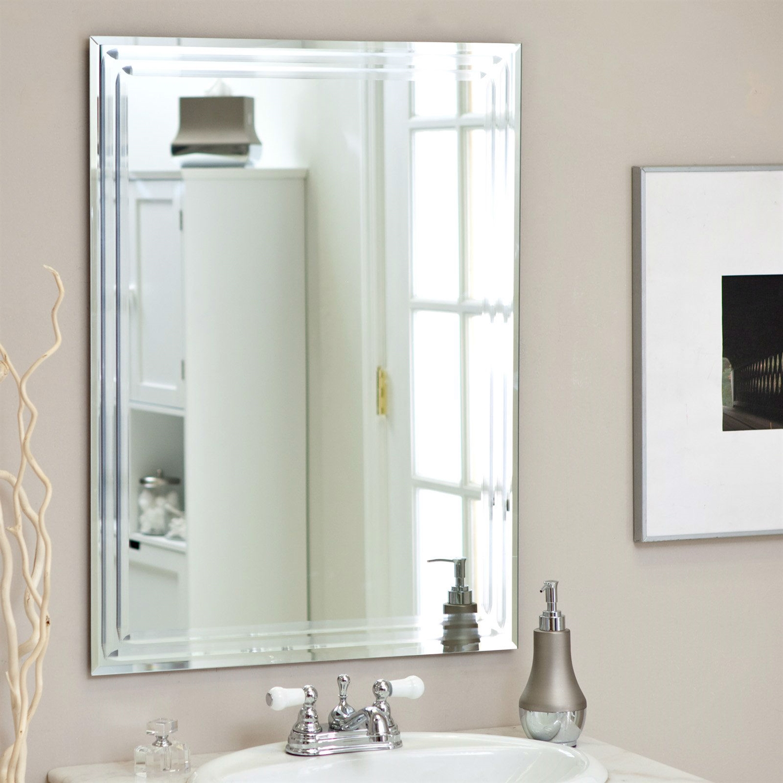 Rectangular 31 5 Inch Bathroom Vanity Wall Mirror With Triple Bevel Design